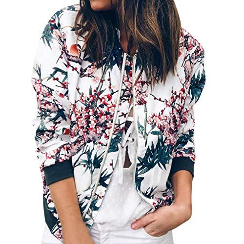 Women Retro Floral Zipper Bomber Jacket Long Sleeve Casual Chic Coat Streetwear(Blue,X-Large)
