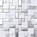 Hominter 5-Sheets Silver Coated Glass Tile Backsplash, Brushed Aluminum Mosaic Tiles, White Glossy and Matte Glass Mosaic for Kitchen and Bathroom JY63