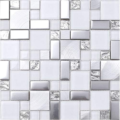 (Hominter 5-Sheets Silver Coated Glass Tile Backsplash, Brushed Aluminum Mosaic Tiles, White Glossy and Matte Glass Mosaic for Kitchen and Bathroom JY63)