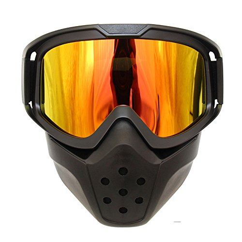 Motorcycle Goggles Mask Detachable Wear Over Rx Glasses Helmet Sunglasses (Model 1, Yellow - Goggles Rx Motorcycle