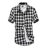 Siriay Men's Shirt Short Sleeve Lattice Plaid Painted Loose Casual Tops Blouse Shirts Black