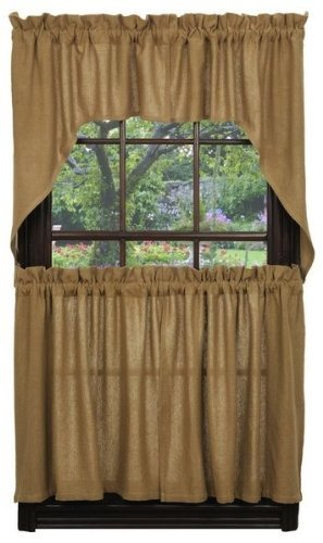 Window Swags Treatments (New Burlap Design Swag 100% Cotton 72 x 36 Inches Window Treatment Swags in Natural Sand Color)