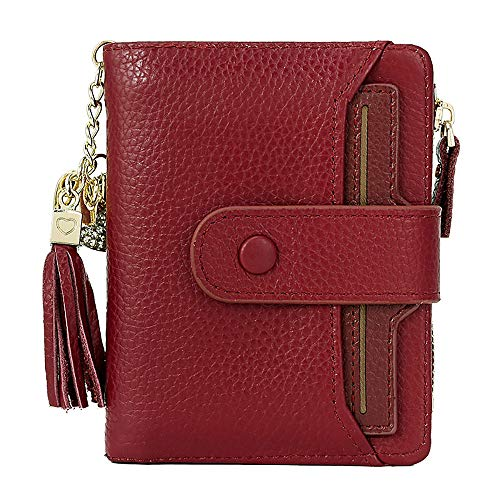 Women's RFID Mini Soft Leather Bifold Wallet With ID Window Card Sleeve Coin Purse (Wine red)