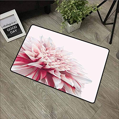 (LOVEEO Entrance Doormat,Dahlia Close Up Dahlia Blossom with Red and White Petals One Single Large Flower,Easy Clean Rugs,24