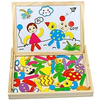 TONZE Puzzles Rompecabezas Magnéticos de Madera Juguete de Pizarra Magnética Doble Cara Tablero de Dibujo Juguetes Regalo Navidad Educativos Juego ...