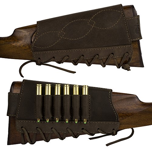 BronzeDog Adjustable Leather Buttstock Cartridge Ammo Holder for Rifles 12, 16 Gauge,...