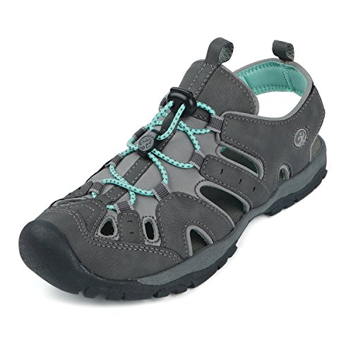 Northside Women's Burke II Closed Toe Sandal, Dark Gray/Aqua, 8 M US