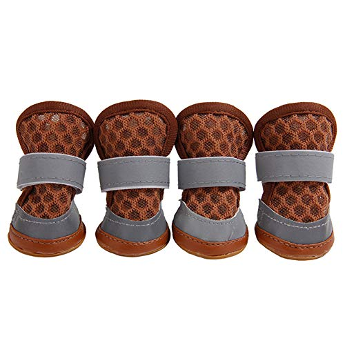 HUAhuako Dog Mesh Sandals, Casual Pet Cute Anti-Skid Breathable Soft Shoes Puppy Footwear Coffee M