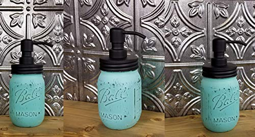 Rustic Painted Mason Jar Soap Lotion Pump Dispenser - Kitchen - Bathroom - Available in 20 colors - Shown in Sea Blue - Bathroom Accessories - Mason Jar Pump Lids - Farmhouse Home Decor