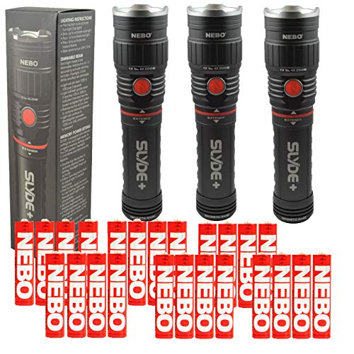 BUNDLE: 3x NEBO Slyde+ (Plus) 6525 LED Flashlight and work light 300 Lumens w/ 24 Nebo AAA Batteries by NEBO