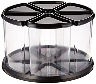 Deflecto 39000104 Six-canister carousel organizer, 6 clear canisters, black lids