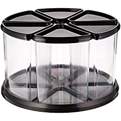 """Deflecto Rotating Carousel Organizer, 360 Spin, 6-Canister Configuration, Removable, Clear, Black Lids, 11-1/8""""W x 6-5/8""""H x 11-1/8""""D (39000104)"""