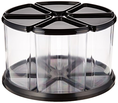 Deflecto Rotating Carousel Organizer, 360 Spin, 6-Canister Configuration, Removable, Clear, Black Lids, 11-1/8W x 6-5/8H x 11-1/8D (39000104)
