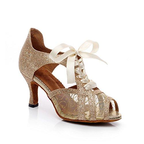 Tango Med Misu Latin Peep Dans Praksis Gull Hæl Salsa Toe Kvinners Sko Sandaler Ballroom 3 3 PwYfq4P