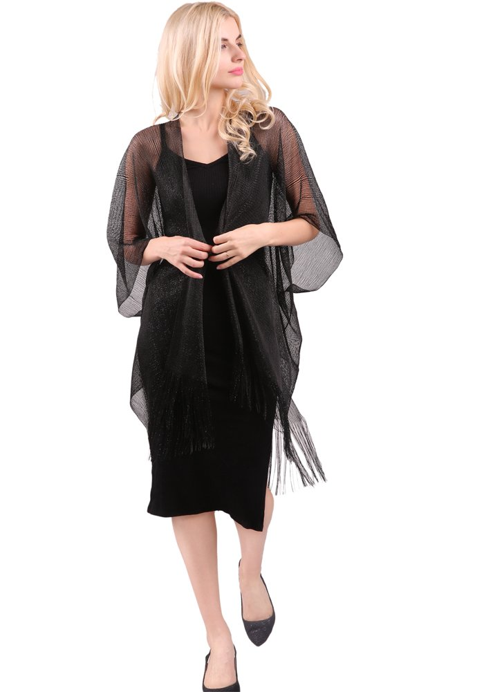 MissShorthair Womens Glitter Open Front Cardigans Sheer Metallic Long Kimono with Tassel by MissShorthair (Image #5)