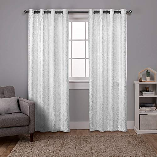 Exclusive Home Curtains Watford Distressed Metallic Print Thermal Window Curtain Panel Pair with Grommet Top, 52x84, Winter White, Silver, 2 ()