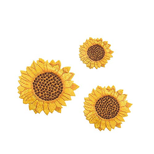 YOUOR 3 Pieces Sunflower Patch Flower Embroidered Patches DIY Cloth Applique Decoration (Style A)