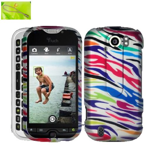 Neon Rainbow Color Zebra Design, Rubberized Coated Surface Hard Plastic