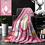 Unique Custom Double Sides Print Flannel Blankets Girly Decor Lady Sitting In Front Of French Cosmetic Make-Up Mirror Furniture Dres Super Soft Blanketry for Bed Couch, Throw Blanket 50 x 70 Inches