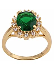 Women Green Rhinestone Inlaid Gold Plated Copper Crystal Ring Vintage Gift bague