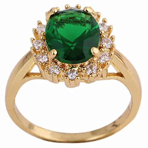 Green Rhinestone Inlaid Gold Plated Copper Crystal Ring Vintage Gift