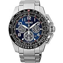 Seiko SSC275 Men's Solar Chronograph Bracelet Silver Band Blue Dial Watch