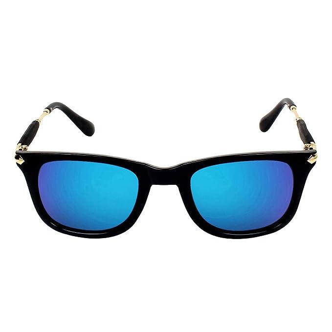 ca32f71f91e TILUDI Men s Blue Lens Wayfarer Sunglass (EYEWEAR041 M Blue Gold ...