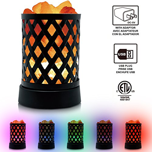 Himalayan Glow 903AC Lattice USB Lamp, Multicolor Night Light with Pink Salt Chunks by WBM