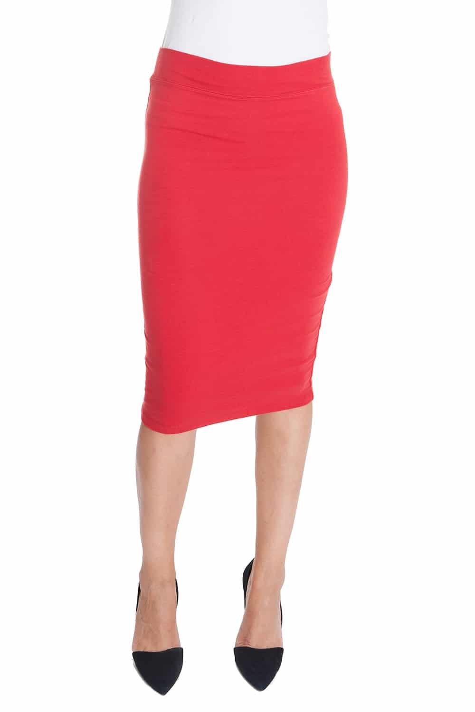 Esteez Cotton Lycra Skirt for Women Modest Stretchy Chicago RED Medium