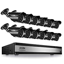 ZOSI 16CH Security Surveillance System H.265+ 16Channel 1080P CCTV Video DVR Recorder and 12pcs 1080P HD Weatherproof Bullet Cameras System Supports Motion Detection Remote Viewing NO Hard Drive