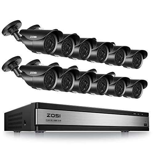 ZOSI 16CH 1080P Security DVR System (12) Surveillance Cameras with 120ft Night Vision Motion Detection IP67 Waterproof for Outdoor Indoor CCTV ()