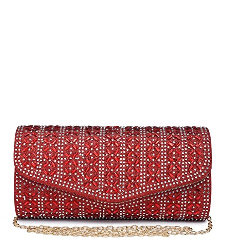 Women's Diamante Red Handbag Bag Envelope Purse ME68033 Evening Clutch Ladies Party Glitter AXwI11