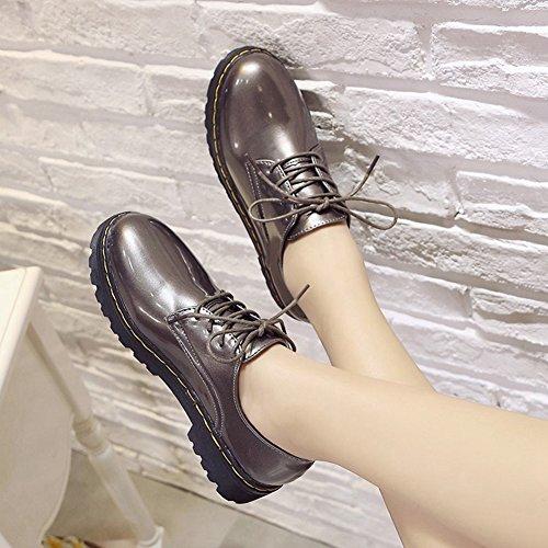Cybling Zapatillas Casual Para Mujer Zapatillas Planas De Moda Zapatillas Con Cordones Plateadas
