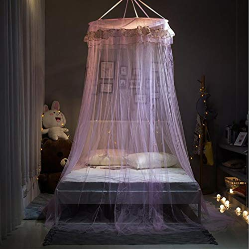 XNNSH Kids Baby Dome Bed Canopy Bedcover Netting Curtain Fly Midge Insect Cot Mosquito Net - 250cm /98.42inch,Purple