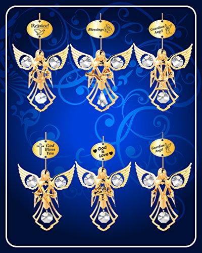 Set of 6 Ornaments - 24k Gold Plated Angel W/clear Swarovski Austrian Crystal ()