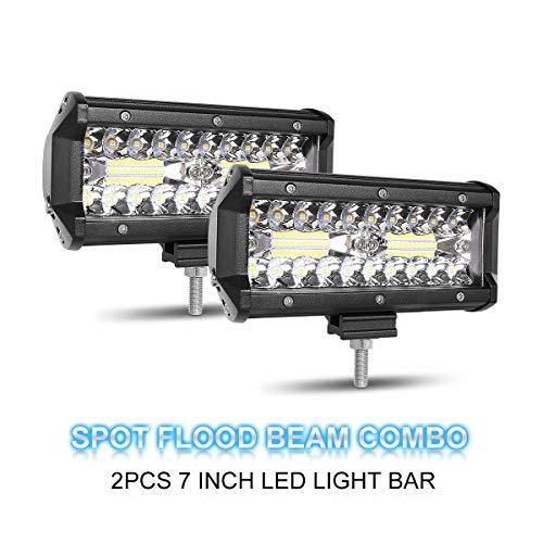 LED Light Bar, Rigidhorse 2pcs 3 Row 7 Inch 20000LM Spot Flood Combo Beam LED Light Bars Off Road Driving Lights Work Lights Fog Light for Pickup UTV ATV Jeep Truck Boat,1year warranty