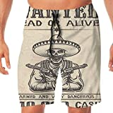 HAIXIA Men's Quick Dry Boardshorts Pocket Western Dead Skull Cowboy Hat Pistols in Retro Vintage Texas Art Print Beige Black