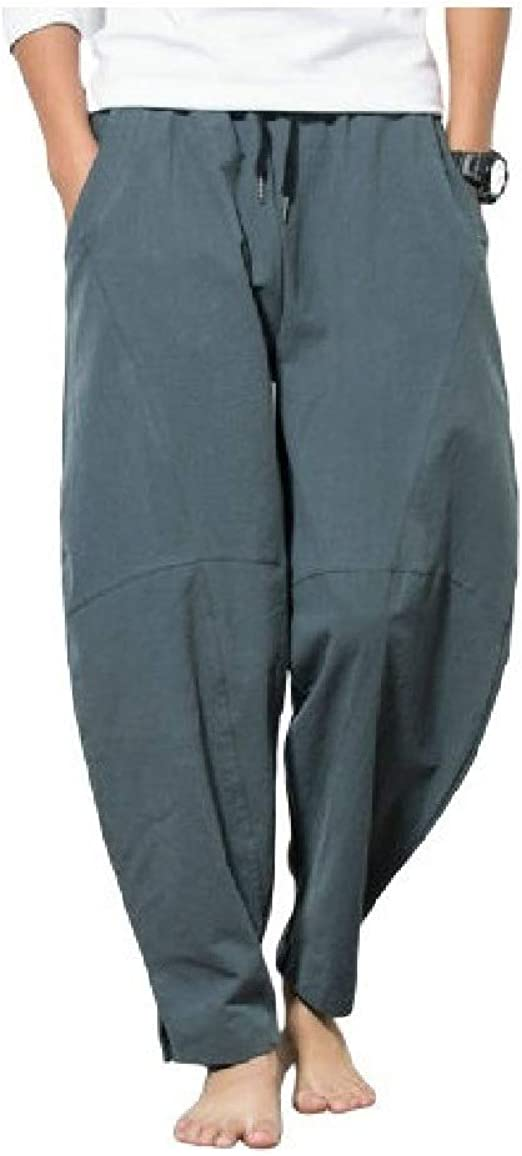 AngelSpace Men's Chinese Style Solid Oversize Pockets Mid-Rise Slim Fit Harem Trousers