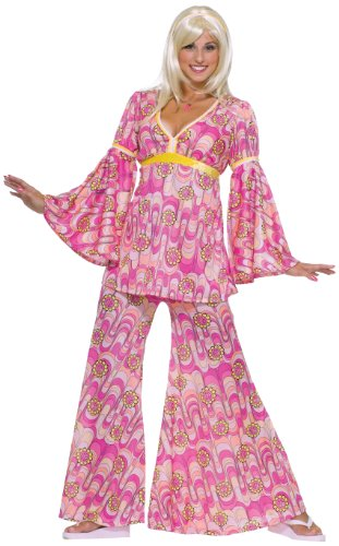 Forum Novelties Women's Flower Power Hippie 60's Costume, Pink, Standard ()