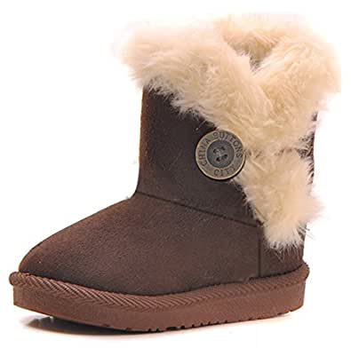 Amazon.com | Femizee Girls Boys Warm Winter Flat Shoes
