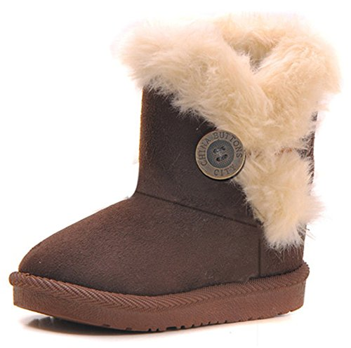 Femizee Girls Boys Warm Winter Flat Shoes Bailey Button Snow Boots(Toddler/Little Kid),Coffee,1929 -