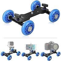 Tabletop Mobile Rolling Slider Dolly Car ,KINGJOY VX-103 Skater Video Track Rail for Speedlite DSLR Camera Camcorder Rig