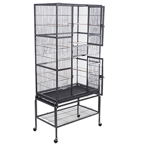 New Black, Bird Parrot Cage Chinchilla Cockatiel Conure Large W/Stand & Two Doors 32