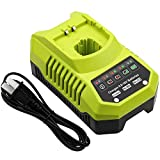 Amsbat Charger Replacement for Ryobi P117 P118 P119 Charger Compatible with Ryobi 9.6V-18V Lithium-Ion NiCad & NiMh Battery P100 P102 P103 P104 P105 P107 P108 P109 18 Volt One+ Batteries