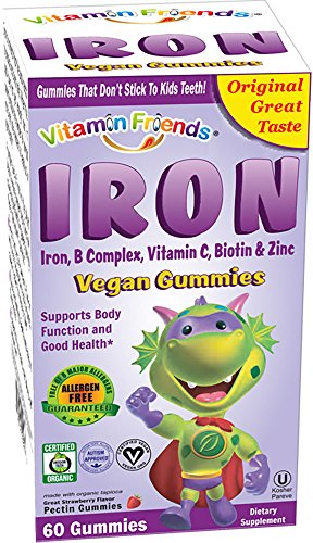 Vitamin Friends Kids Iron Gummies - Vegan, Organic, Kosher, Allergen Free Iron Gummy. Supports Healthy Iron Levels without Nausea or Constipation