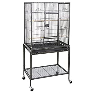 ZENY Bird Cage with Stand Wrought Iron Construction 53-Inch Pet Bird Cage Play Top Parrot Cockatiel Cockatoo Parakeet Finches Birdcage 32