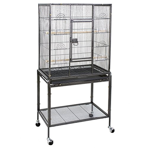 Iron Wrought Stand (ZENY Bird Cage with Stand Wrought Iron Construction 53-Inch Pet Bird Cage Play Top Parrot Cockatiel Cockatoo Parakeet Finches Birdcage)