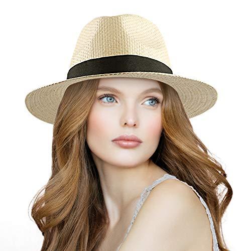 Panama Straw Cowboy Hat - Straw Hat Panama, Womens Beach Sun Hat Foldable Summer Straw Cowboy Hats for Men Kids (Beige)