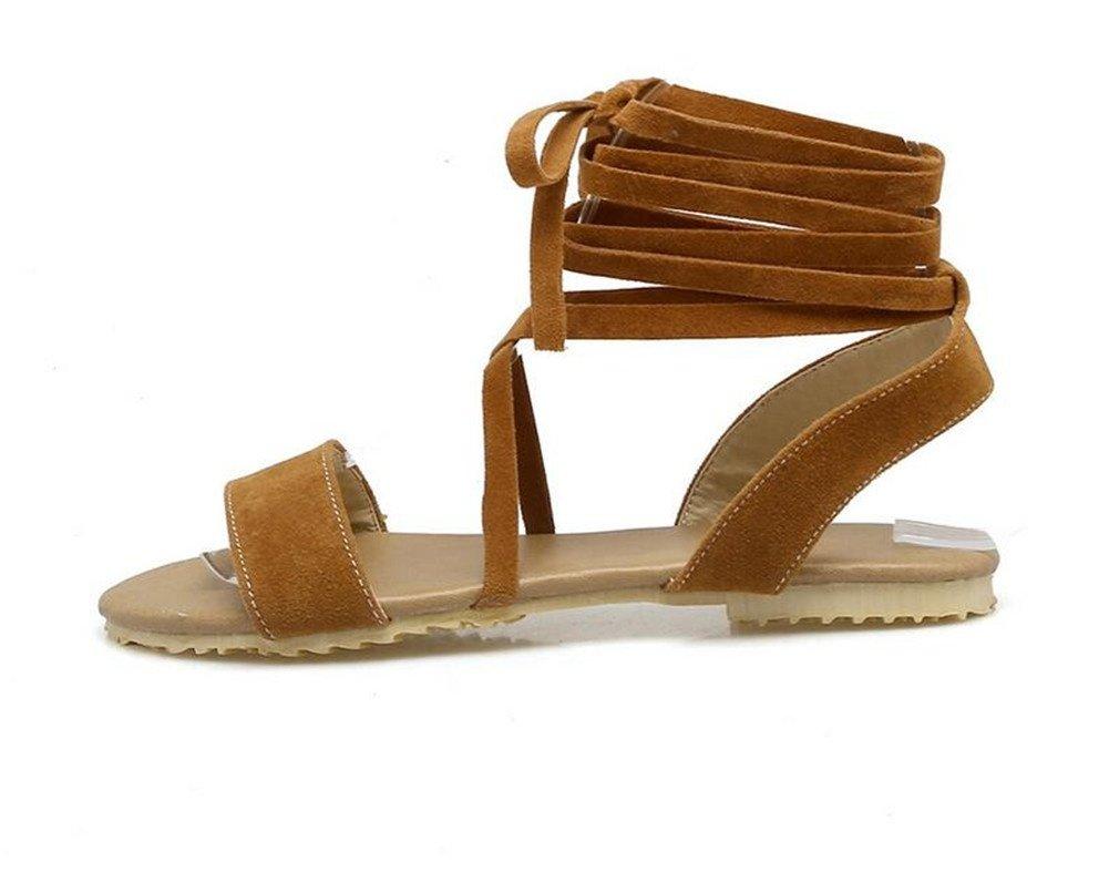 Sandales pour Dames/Bretelles Croisées/Chaussures Plates, Confort/Anti-Dérapant, Party/Daily, 34-43, Brown, 35
