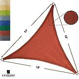 LyShade 12' x 12' x 12' Triangle Sun Shade Sail Canopy (Terracotta) - UV Block for Patio and Outdoor